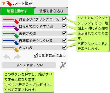「ルート情報」パレット説明図